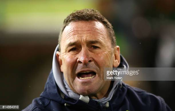 Raiders coach Ricky Stuart shouts instructions from the bench during the round 19 NRL match between the Canberra Raiders and the St George Illawarra...