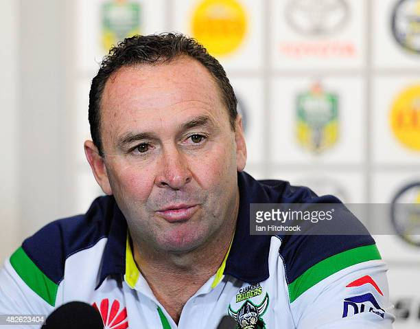 Raiders coach Ricky Stuart speaks at the post match media conference at the end of during the round 21 NRL match between the North Queensland Cowboys...