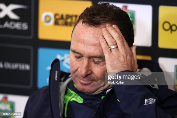 Raiders coach Ricky Stuart speaks to the media in the post match press conference after the round 19 NRL match between the Cronulla Sharks and the...