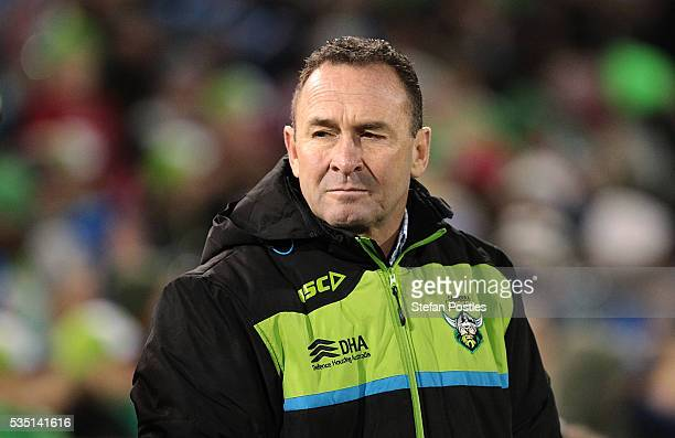 Raiders coach Ricky Stuart watches on during the round 12 NRL match between the Canberra Raiders and the Canterbury Bulldogs at GIO Stadium on May 29...