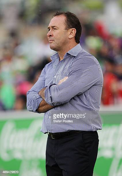 Raiders coach Ricky Stuart watches on during the round six NRL match between the Canberra Raiders and the Melbourne Storm at GIO Stadium on April 12...