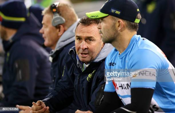 Raiders coach Ricky Stuart watches on from during the round 16 NRL match between the Canberra Raiders and the Brisbane Broncos at GIO Stadium on June...