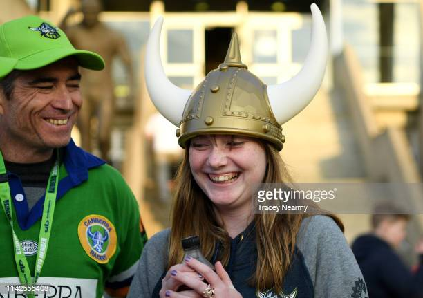 Raiders fan before the Round 5 Canberra Raiders and Parramatta Eels match at GIO Stadium on April 14 2019 in Canberra Australia