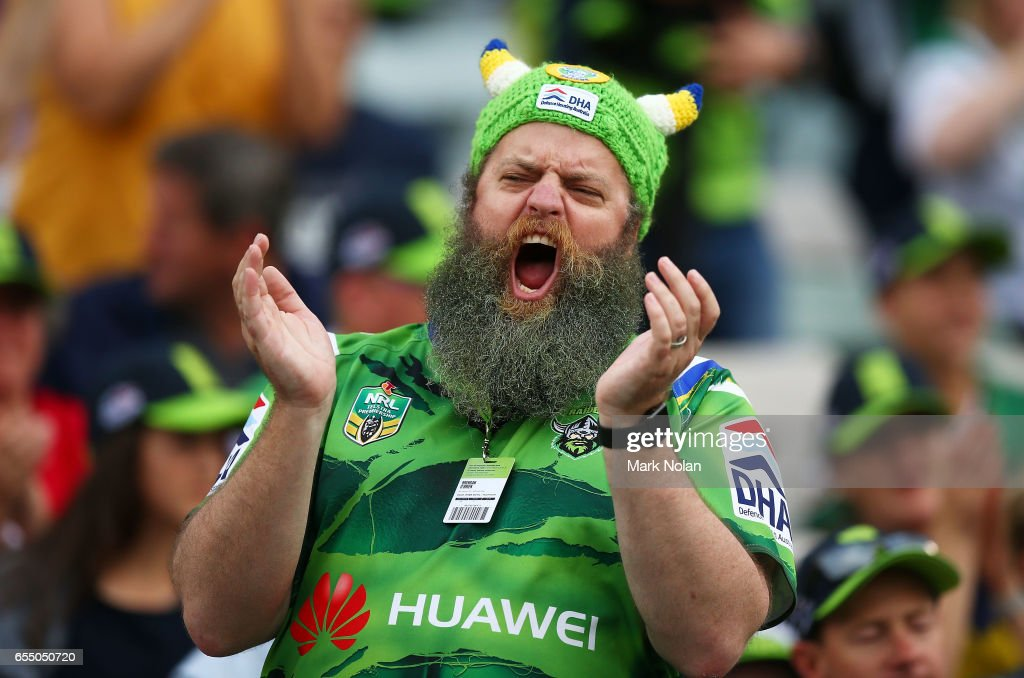 A Raiders fan reacts during the round three NRL match between the Canberra Raiders and the Wests Tigers at GIO Stadium on March 19, 2017 in Canberra, Australia.