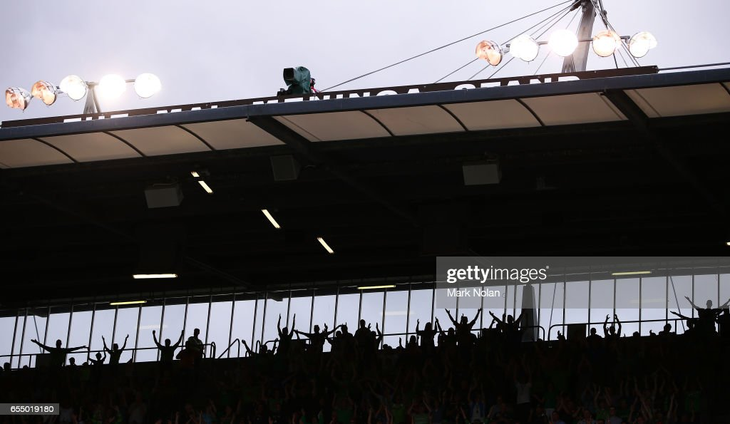 Raiders fans perform the Viking clap before the round three NRL match between the Canberra Raiders and the Wests Tigers at GIO Stadium on March 19, 2017 in Canberra, Australia.