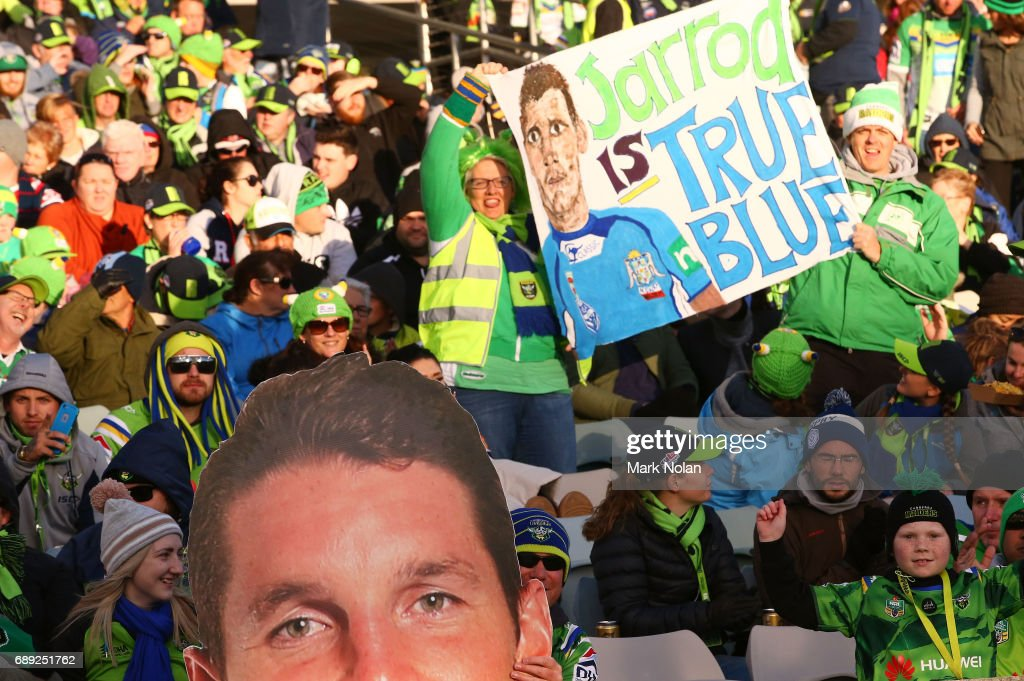 Raiders fans show their support for Jarrod Croker during the round 12 NRL match between the Canberra Raiders and the Sydney Roostrers at GIO Stadium on May 28, 2017 in Canberra, Australia.