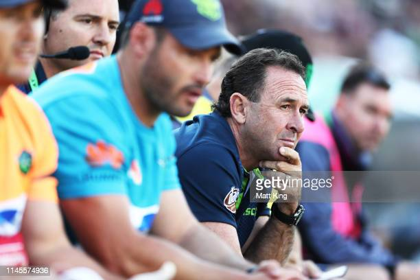Raiders head coach Ricky Stuart looks on during the round 7 NRL match between the Manly Warringah Sea Eagles and the Canberra Raiders at Lottoland on...