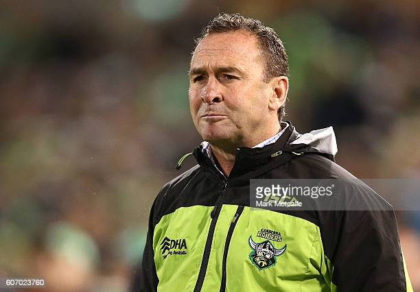 Raiders head coach Ricky Stuart looks on during the second NRL Semi Final match between the Canberra Raiders and the Penrith Panthers at GIO Stadium...