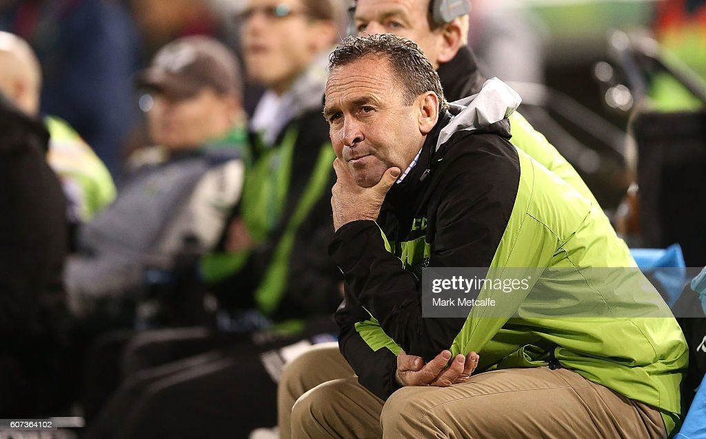 Raiders head coach Ricky Stuart looks on during the second NRL Semi Final match between the Canberra Raiders and the Penrith Panthers at GIO Stadium on September 17, 2016 in Canberra, Australia.