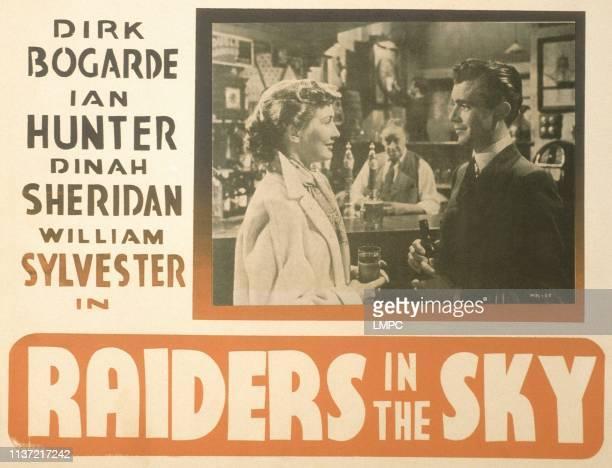 Raiders In The Sky US lobbycard from left Dinah Sheridan Charles Victor Dirk Bogarde 1953