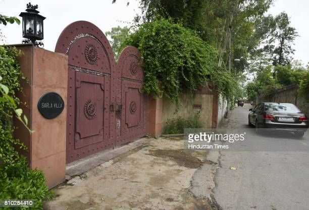 CBI raids at former Railway Minister Lalu Prasad Yadav's farm house Sarla Villa in Shakuntla Farms on July 7 2017 in New Delhi India The CBI raided...