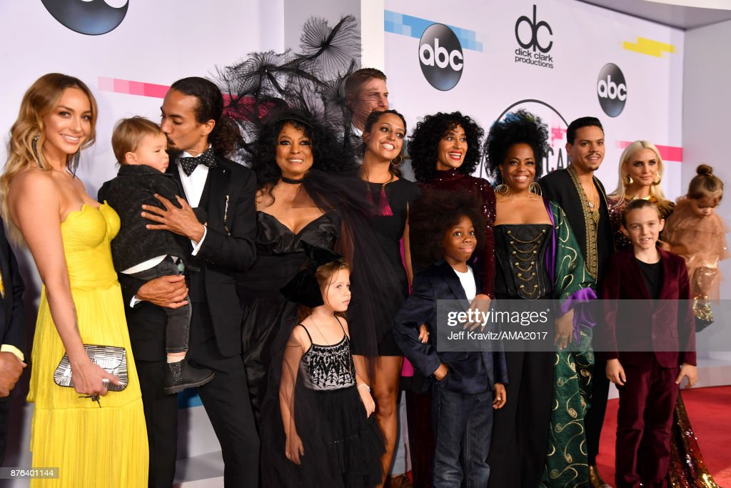 Raif-Henok Emmanuel Kendrick, Rhonda Ross Kendrick, Bronx Mowgli Wentz, Ashlee Simpson, Jagger Snow Ross, Evan Ross, Diana Ross, Ross Naess, Kimberly Ryan, Tracee Ellis Ross, Callaway Lane and Chudney Ross attends the 2017 American Music Awards at Microsoft Theater on November 19, 2017 in Los Angeles, California.