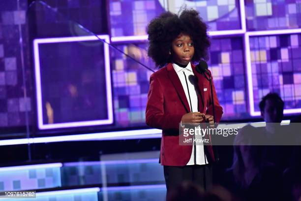 RaifHenok Emmanuel Kendrick speaks onstage during the 61st Annual GRAMMY Awards at Staples Center on February 10 2019 in Los Angeles California
