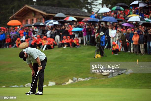 raig Lee of Scotland reacts to missing a birdie putt on the 18th green to win during the final round of the Omega European Masters at the...