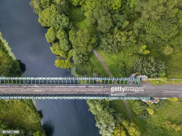 rail bridge over river suir, cahir, tipperary, ireland. - railings stock photos and pictures