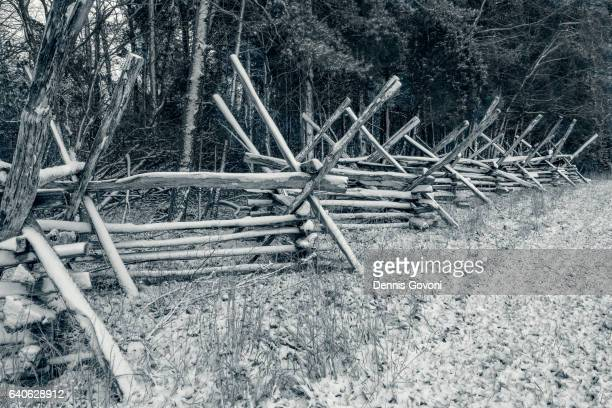 rail fence at manassas battlefield - american civil war stock photos and pictures