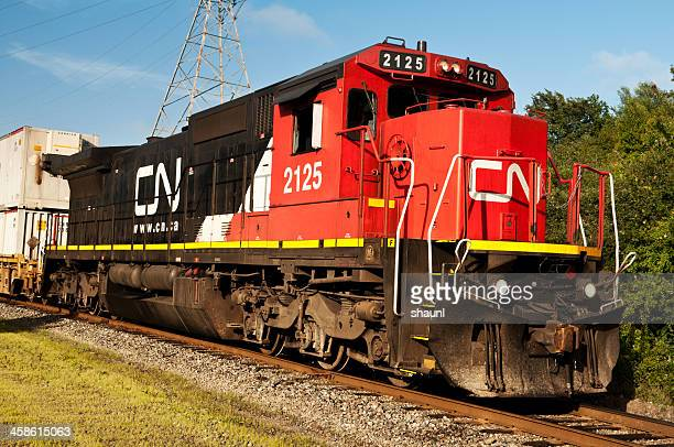 cn rail locomotive - railroad stock pictures, royalty-free photos & images