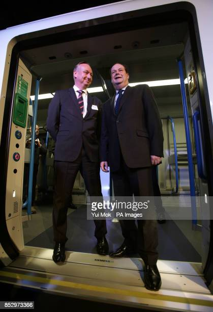 Rail Minister Stephen Hammond and David Statham Managing Director of First Capital Connect during the unveiling of a fullscale mockup of the...