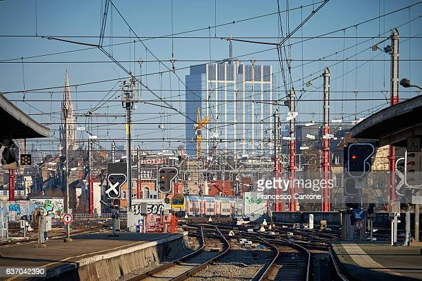 Rail track and wires at Brussels Nord Station
