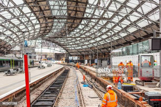 rail track maintenance - merseyside stock pictures, royalty-free photos & images