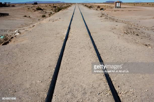 rail tracks at train cemetary on November 2017 in UYUNI Bolivia