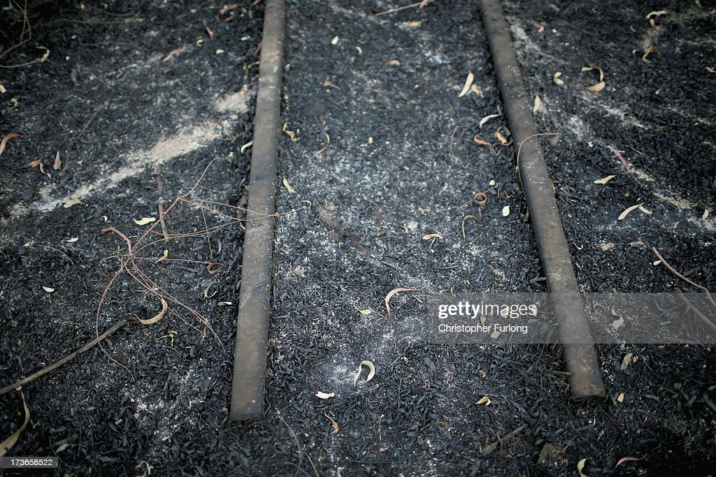 Rail tracks become visble after a grass fire at the derelict 17 Shaft at Crown Mines on July 16, 2013 in Johannesburg, South Africa. Johannesburg became the centre of gold mining in 1886 when gold was first discovered. Two government officials were sent to establish a settlement and named it Johannesburg after the first name they both shared. The gold rush lasted for over 100 years. The South African mining industry has shed more than 340,000 jobs since 1990 but is still the fifth largest gold producer in the world and has vast amounts of other minerals still to be unearthed.