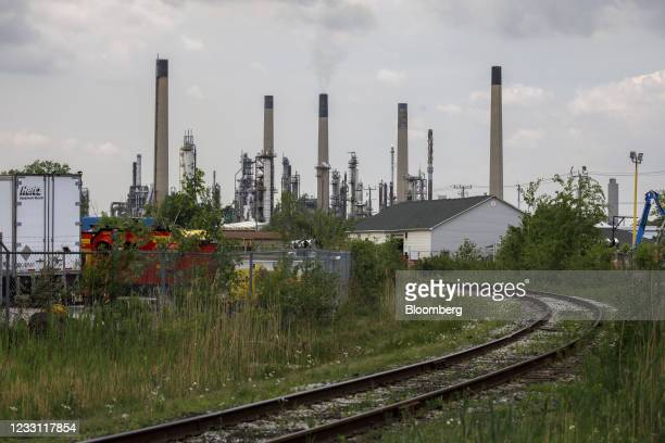 Rail tracks in front of an Imperial Oil Ltd. Refinery near the Enbridge Line 5 pipeline in Sarnia, Ontario, Canada, on Tuesday, May 25, 2021....