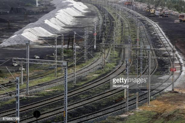 Rail tracks run through Krishnapatnam Port in Krishnapatnam Andhra Pradesh India on Saturday Aug 12 2017 Growth in gross domestic product slipped to...
