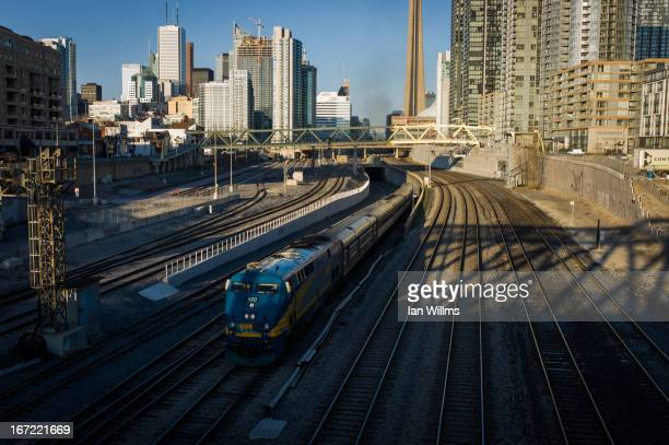 Rail train leaves Union Station the heart of VIA Rail travel bound for Windsor on April 22 2013 in Toronto Ontario Canada The Royal Canadian Mounted...