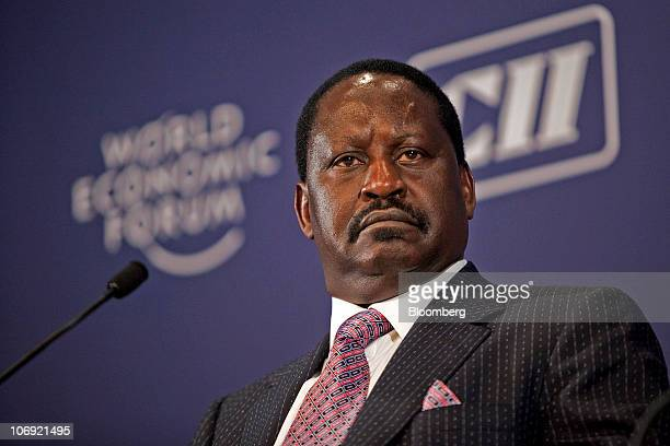 Raila Odinga Kenya's prime minister speaks during the World Economic Forum's India Economic Summit in New Delhi India on Tuesday Nov 16 2010 About...