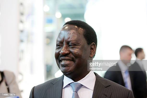 Raila Odinga Kenya's prime minister speaks to the media in an exhibition hall during day one of the Saint Petersburg International Economic Forum...