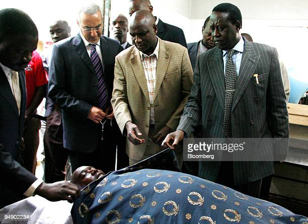 CONTENT Raila Odinga leader of the Orange Democratic Movement right along with colleagues pay their respects to David Kimutai Too a politician who...