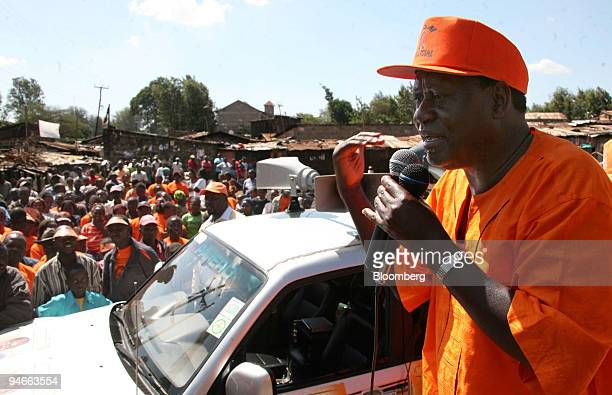 Raila Odinga leader of the Orange Democratic Movement speaks to his supporters at a political rally outside Nairobi Kenya on Friday Nov 23 2007 Kenya...