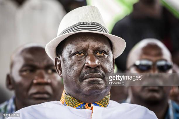 Raila Odinga opposition leader for the National Super Alliance looks on during a political rally in Nairobi Kenya on Wednesday Oct 18 2017 Kenya is...