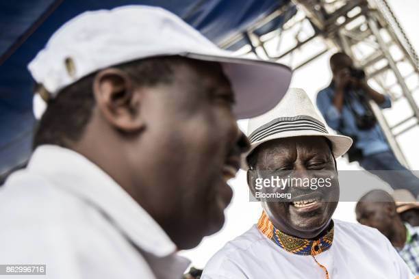 Raila Odinga opposition leader for the National Super Alliance right reacts during a political rally in Nairobi Kenya on Wednesday Oct 18 2017 Kenya...