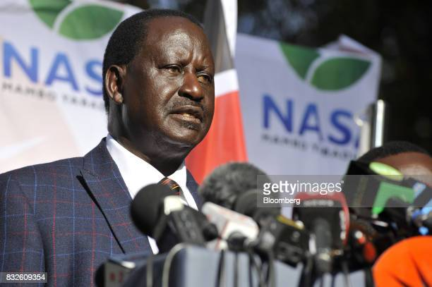 Raila Odinga opposition leader for the National Super Alliance speaks during a news conference in Nairobi Kenya on Wednesday Aug 16 2017 Kenyan...