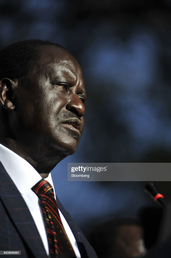 Raila Odinga, opposition leader for the National Super Alliance (NASA), speaks during a news conference in Nairobi, Kenya, on Wednesday, Aug. 16, 2017. Kenyan authorities tried to raid the offices of a civil-rights group planning to challenge last weeks election results in court, the latest move in what activists say is a campaign to quell dissent over the vote that returned PresidentUhuru Kenyattato power. Photographer: Riccardo Gangale/Bloomberg via Getty Images