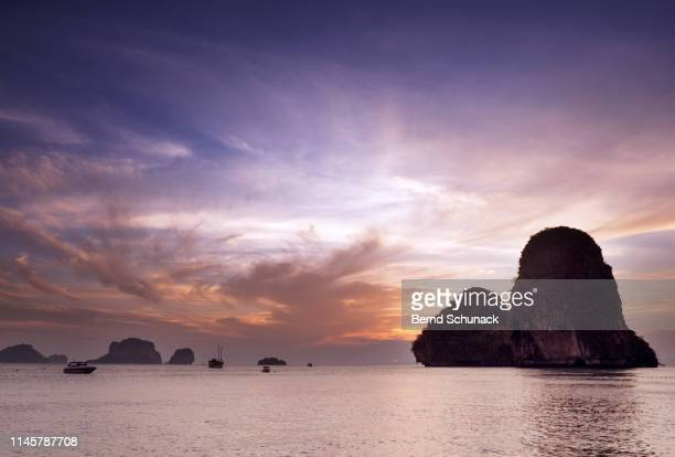 railay beach sunset - bernd schunack stock pictures, royalty-free photos & images