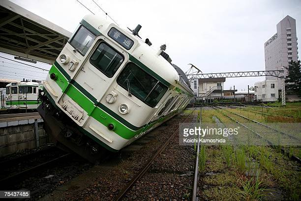 Railcar derailed by the first magnitude 6.8 earthquake at Kashiwazaki train station July 17, 2007 in Kashiwazaki, Niigata Prefecture, Japan. Five...