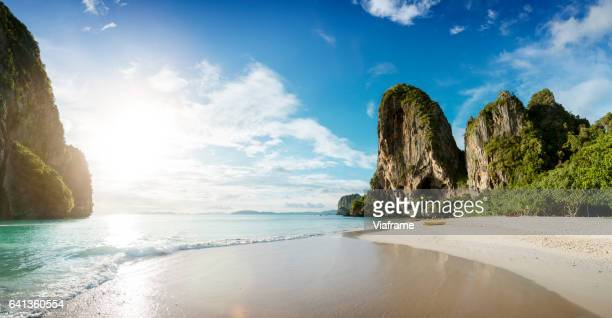 railey beach - idyllic stock pictures, royalty-free photos & images