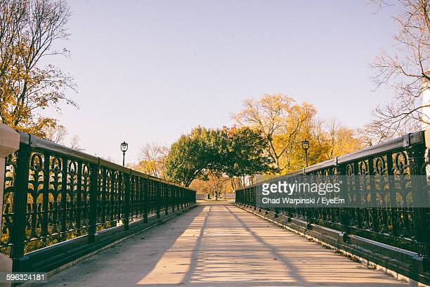 railing at pedestrian bridge by trees against sky - milwaukee wisconsin stock photos and pictures