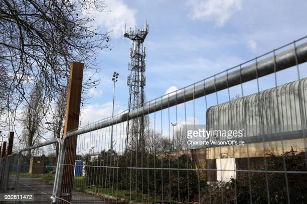 Railings have been erected outside Champion Hill to ward off fans whilst they row with the stadium owners at Champion Hill Stadium on March 14 2018...