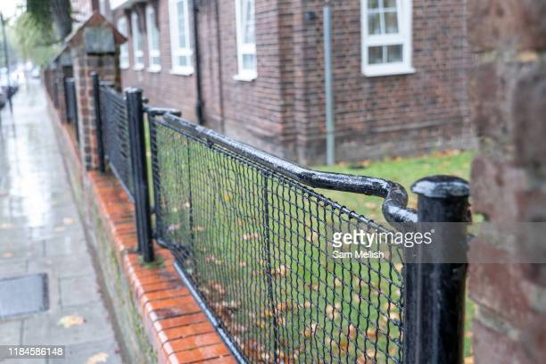 Railings made from World War 2 stretchers on the 24th September 2019 in London in the United Kingdom. The WW2 stretchers were once used to carry...