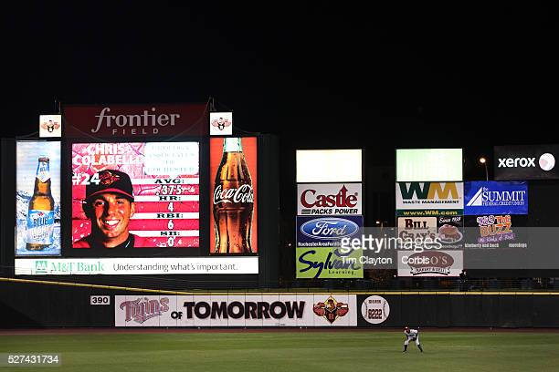 RailRiders outfielder Melky Mesa at centre field surrounded by advertising during the Rochester Red Wings V The Scranton/WilkesBarre RailRiders Minor...