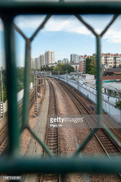 railroad beyond barbed wire - holocaust stock pictures, royalty-free photos & images