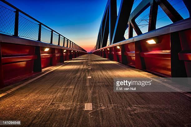 Railroad bridge across river De IJssel