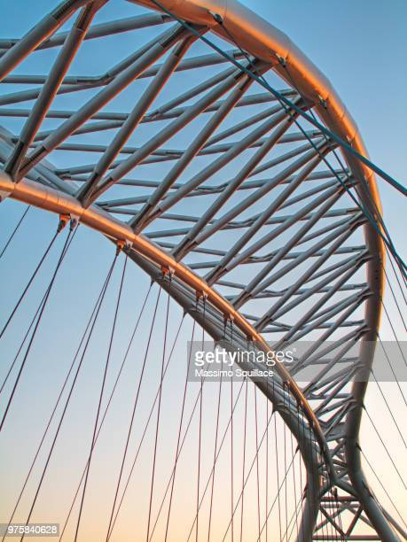 railroad bridge on blue sky, rome, italy - man made structure stock pictures, royalty-free photos & images