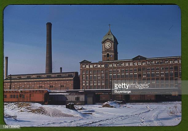 Railroad cars and factory buildings in Lawrence Massachusetts 1941