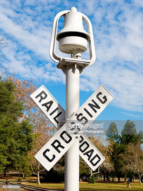 Railroad crossing road sign