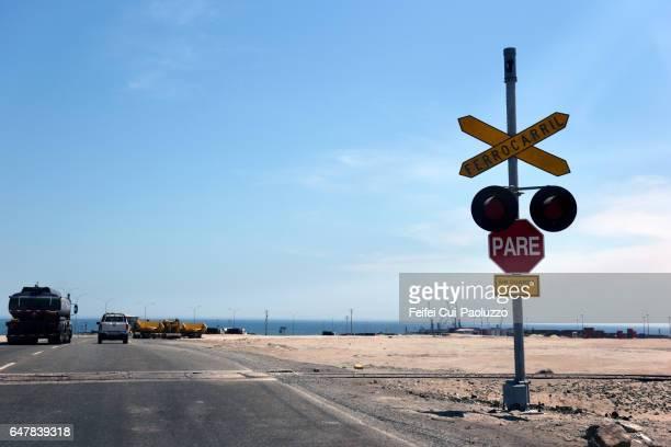 Railroad Crossing Sign at city of Antofagasta, Chile